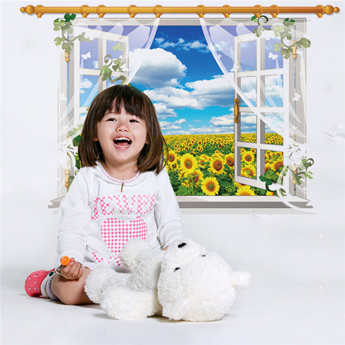 Hot Sale Sunflower Waterproof Wall Sticker