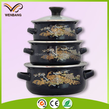 new design cooking pots with handles, high quality enamel printing casserole hot pot
