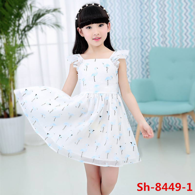 Hot sale summer american girls without dress photos fresh lovely crane printed organza dresses
