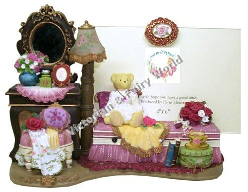 Lady Teddy Bear On The Victorian Sofa Photo Frame With Lamp
