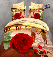 3D Red rose for wedding 100% cotton 4 pieces duvet cover set
