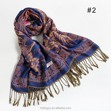 Hot women winter cashew nut floral shawl scarf jacquard peacock cotton paisley pashmina scarf