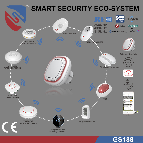 smart home alarm system GS188 gateway with RF z-wave wifi zigbee lora sigfox module optional