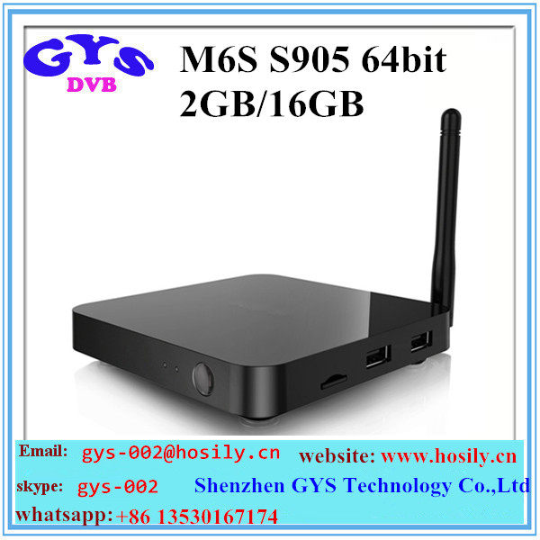 New Arrival Aml s905 Android tv box M6S 2GB/16GB 64 BIT Quad core android 5.1 from Shenzhen GYS