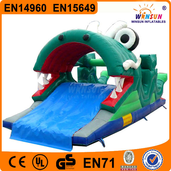 Animated corcodile POP special design green dragon inflatable wet slide