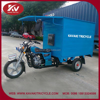 China Guangzhou factory supply blue 200cc air-cooled closed carbin cargo coffee tricycle