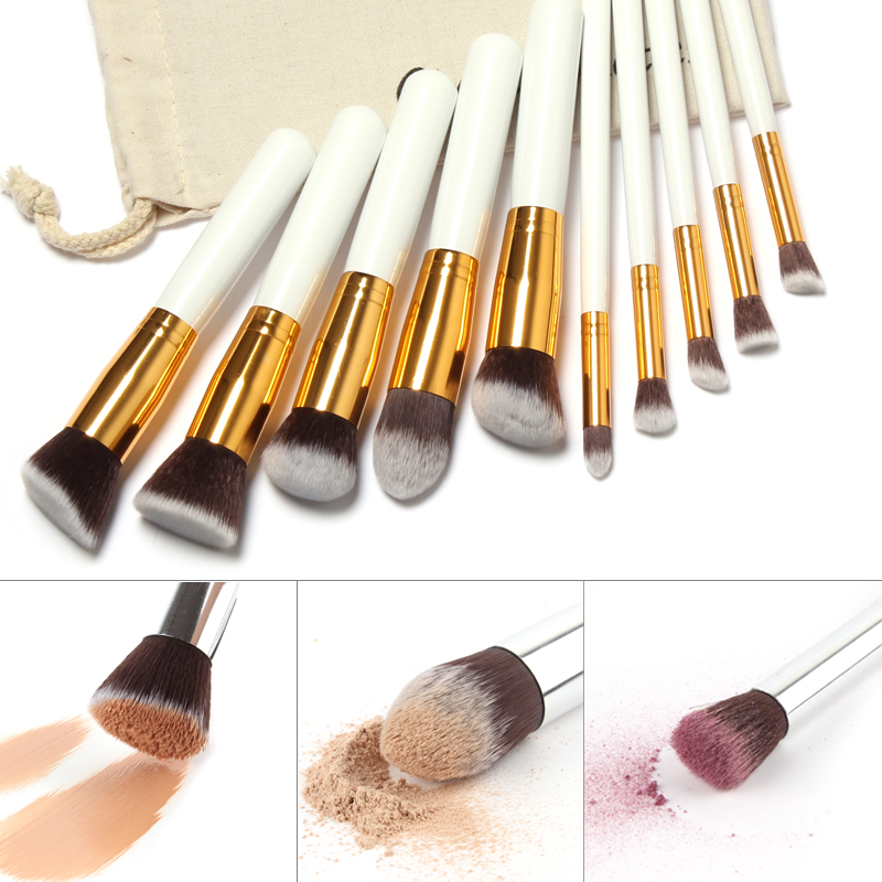 10 pcs Goat Hair Aluminum Handle Kabuki Brush Powder brush kits custom logo makeup brushes