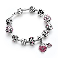 Hot pink locket charm lover's bracelet, eye chatching different charms glaze yoga bracelet