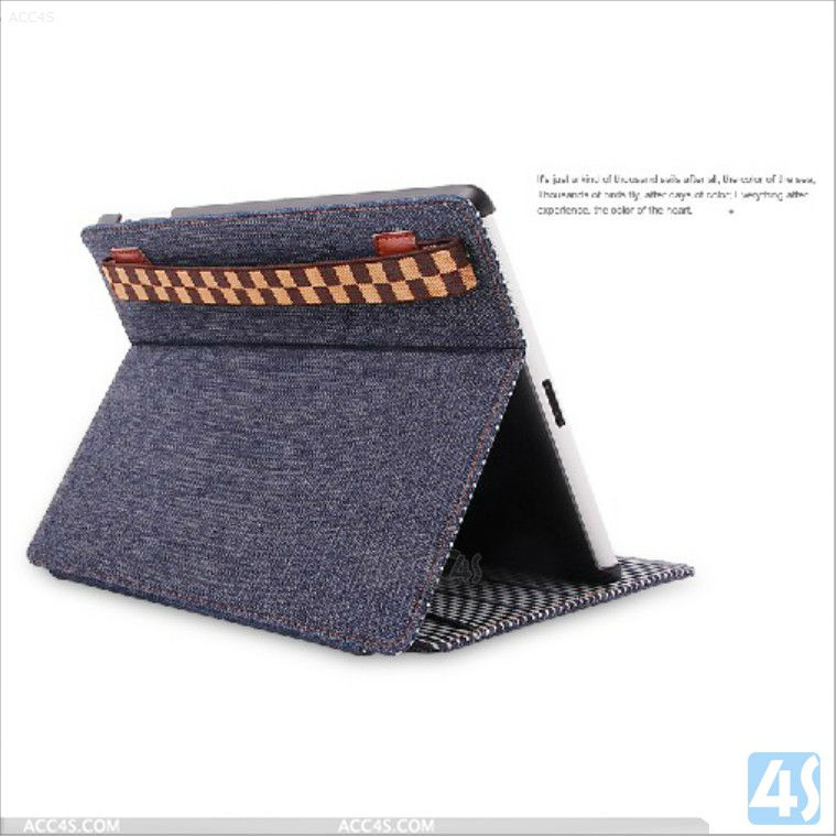 Fashion jeans stand design back cover case for ipad2/3/4 P-iPAD234CASE082