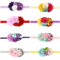 Hair Bands Accessories Baby Toddler Newborn Lace Sunflower Two Rose Flowers Pearl Rhinestone Hairband