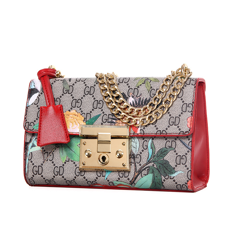 Flower Print One shoulder Bag With Gold Chain Ladies Handbag