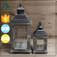 Wooden candle lantern and candlestick holder for garden decoration
