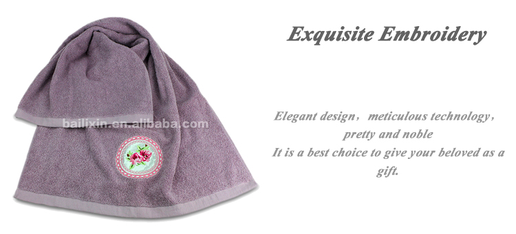 100% Cotton purple embroidered bath towels made in china