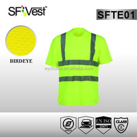 2015 new products safety production polyester birdeyes bulk blank hi vis reflective safety t-shirt