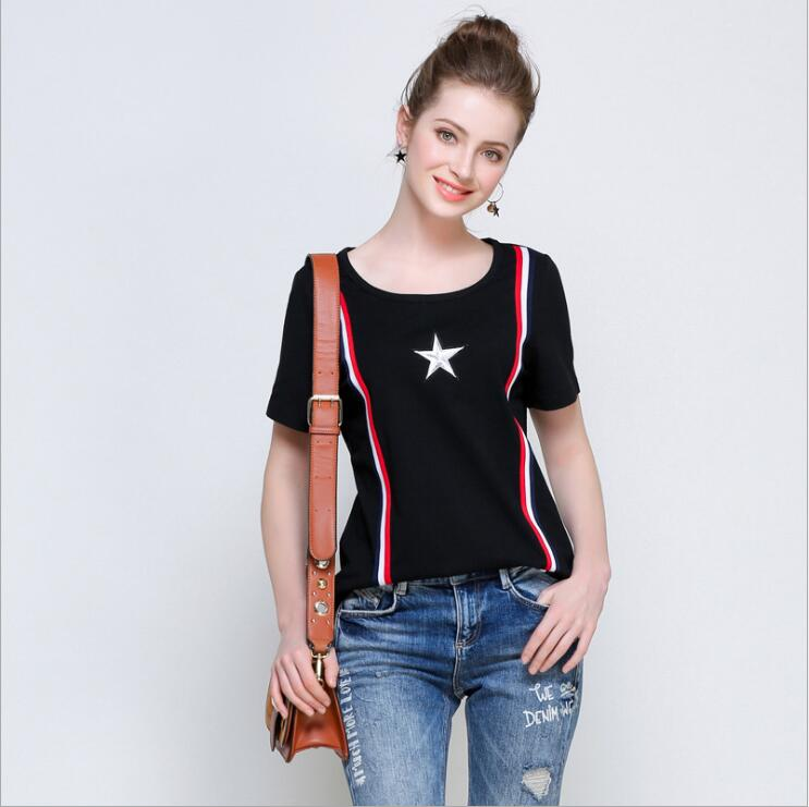 2017 Summer T-shirt Women Casual Lady Top Tees Cotton Tshirt Female Brand Clothing T Shirt Embroidered stars Top Lovers Tee L-5X
