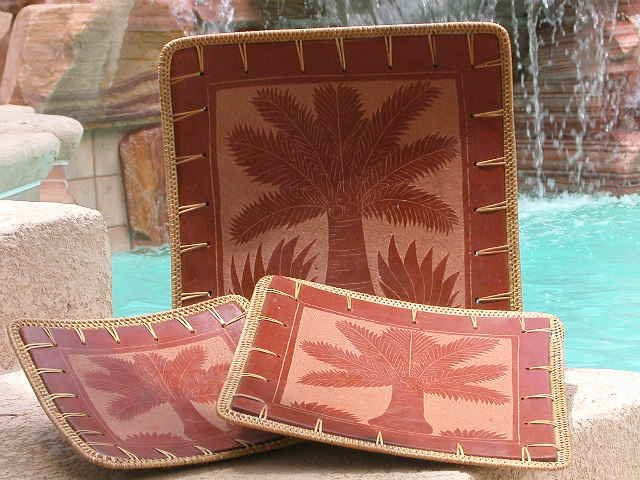 Terracotta, Palm Handetched Set Of 3 Trays