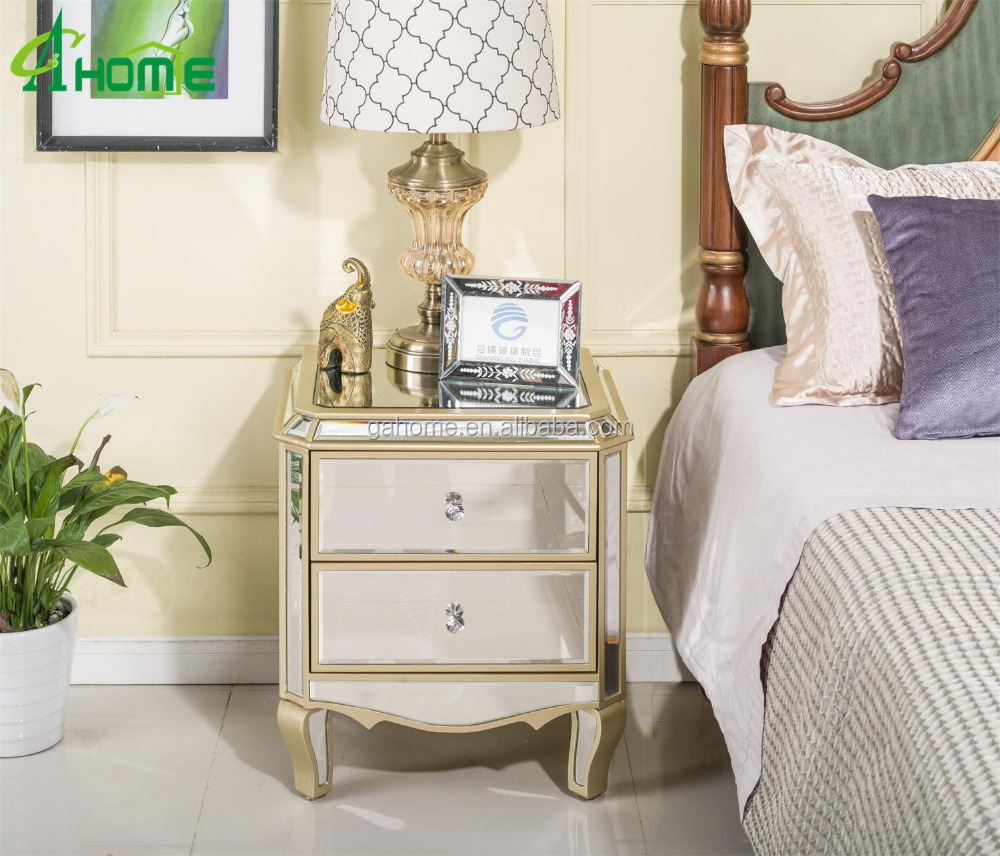 modern bedroom mirrored nightstand with 2 drawers buy mirrored