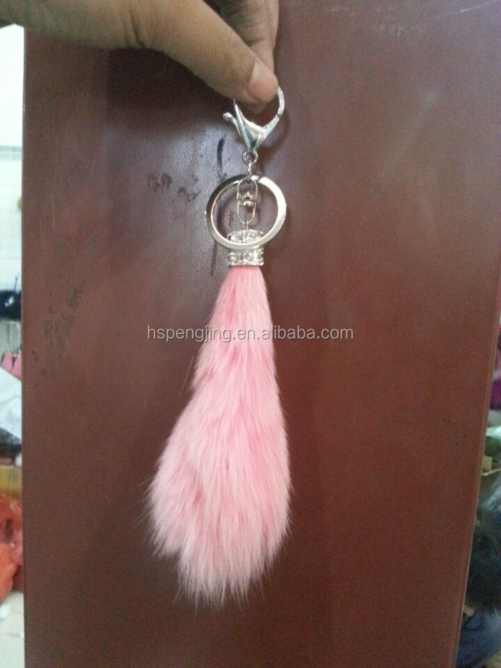 Wholesale Large size 15cm real Fur Red Fox Tail Keychain with Key Ring For Bag