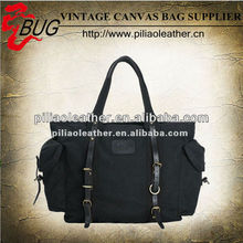 Vintage Black Canvas Duffel Bags with Leather Trim