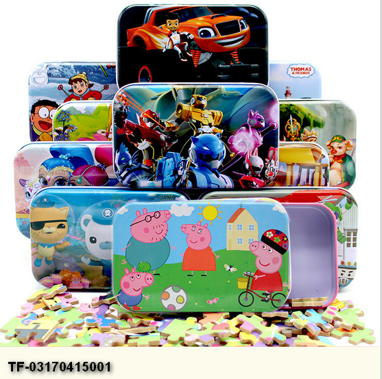 Kindergarten 60 pieces of tin box cartoon style frozen wooden jigsaw with princess puzzle Wooden fancy early education toys