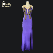 OEM cheap appliques flower purple sexy club dress evening gown