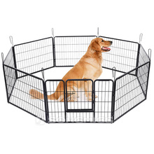 Portable outdoor folding chain link puppy run metal dog fence