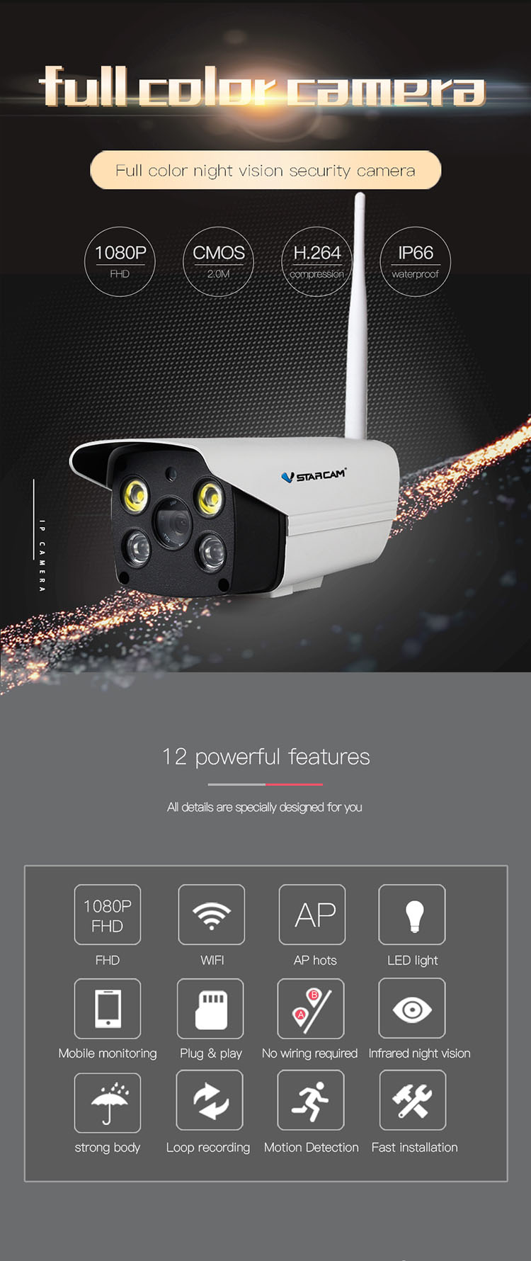 VSTARCAM IP66 outdoor wifi hidden ip camera