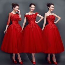 High-End New Style Evening Bride Dress Midi Style Lace Wedding Dress