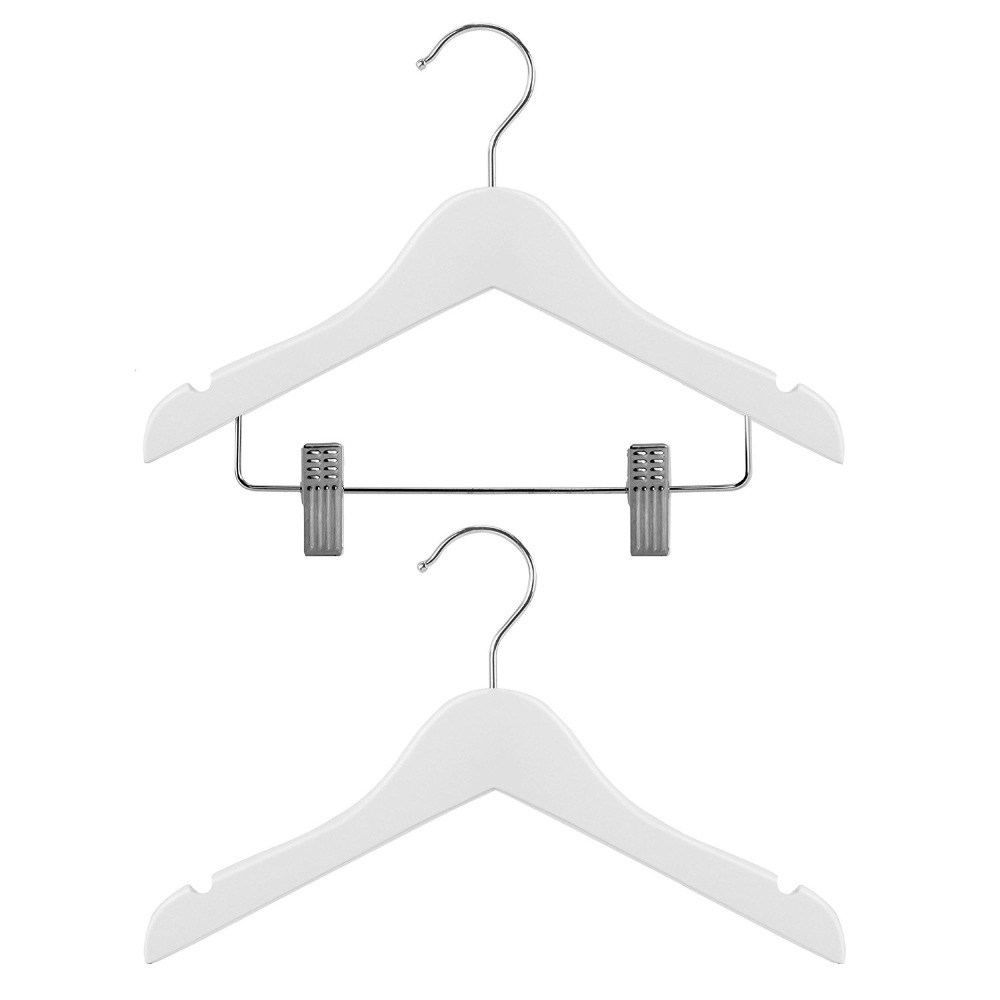 Inspring Children's Wardrobe White Wooden Coat Hangers - Clip & Top Hangers For Baby & Toddler Clothes - 30cm (11.8)