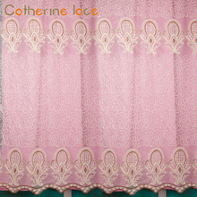 Catherine Living Room Fashion Style Lace Voile Fabric Curtains And Embroidery Drapes