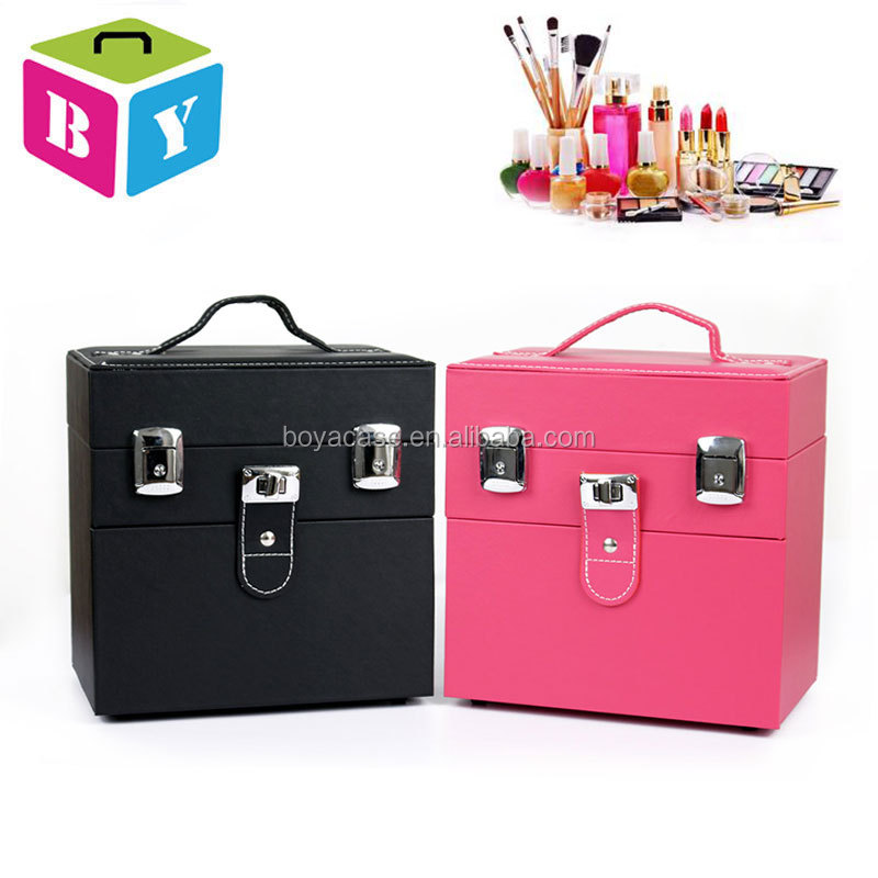 small portable easy carrying pink black pvc beauty makeup cosmetic nail polish bottle organizer case with lock and key