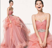 2014 newest design factory price pink bridal wedding gown #OW168