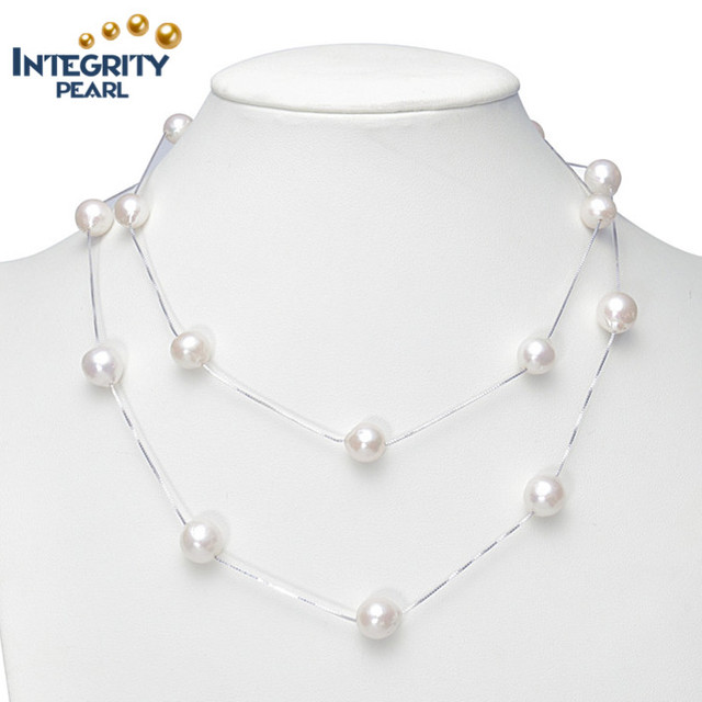 925 sterling silver chain real genuine cultured 9-11mm edison natural freshwater pearl beads necklace