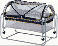 Hot sale simple Iron frame baby bed,baby crib swing bed with mosquito net 2560