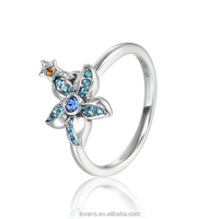 Jewelry Wholesale Thailand Starfish Ring Sterling 925 Silver Jewelery Ring Set RIPY059-6