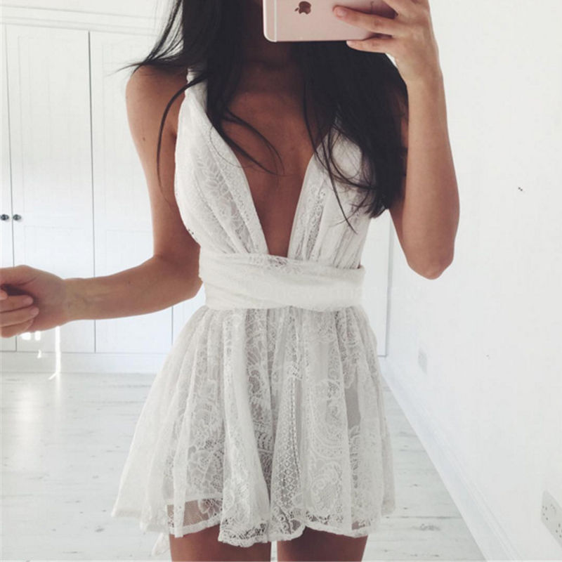 Lace Dress Woman V Collor Summer Dress Cheap Price