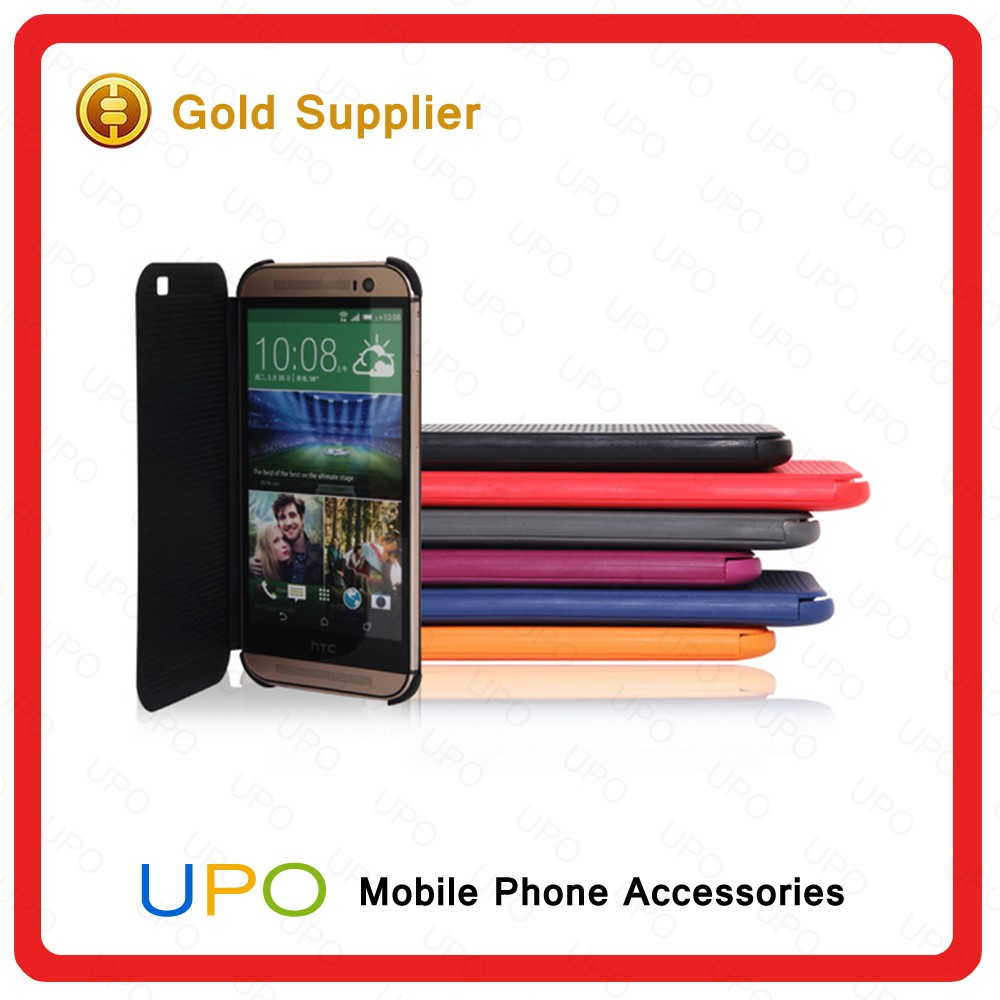 [UPO] Smart Auto Sleep Wake Up Function Flip Cover Original View Phone Case for HTC One M8/E8/Desire 826