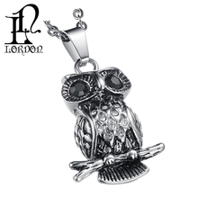 The Owl Pendant Stainless Steel Necklace With CZ Diamond