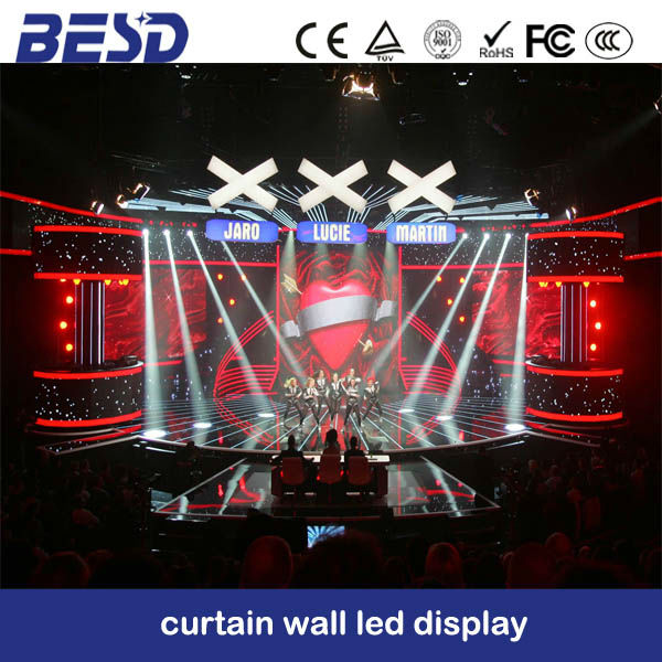 Brazil Rental movable transparent flexible stage mesh Strip led Curtain