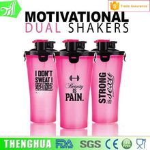 24oz custom plastic protein shake bottle 700ml dual shakers