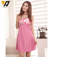 Silk Pajamas Suit Satin Silk Sling Dress Sleepwear Set Ladies In Nightgown