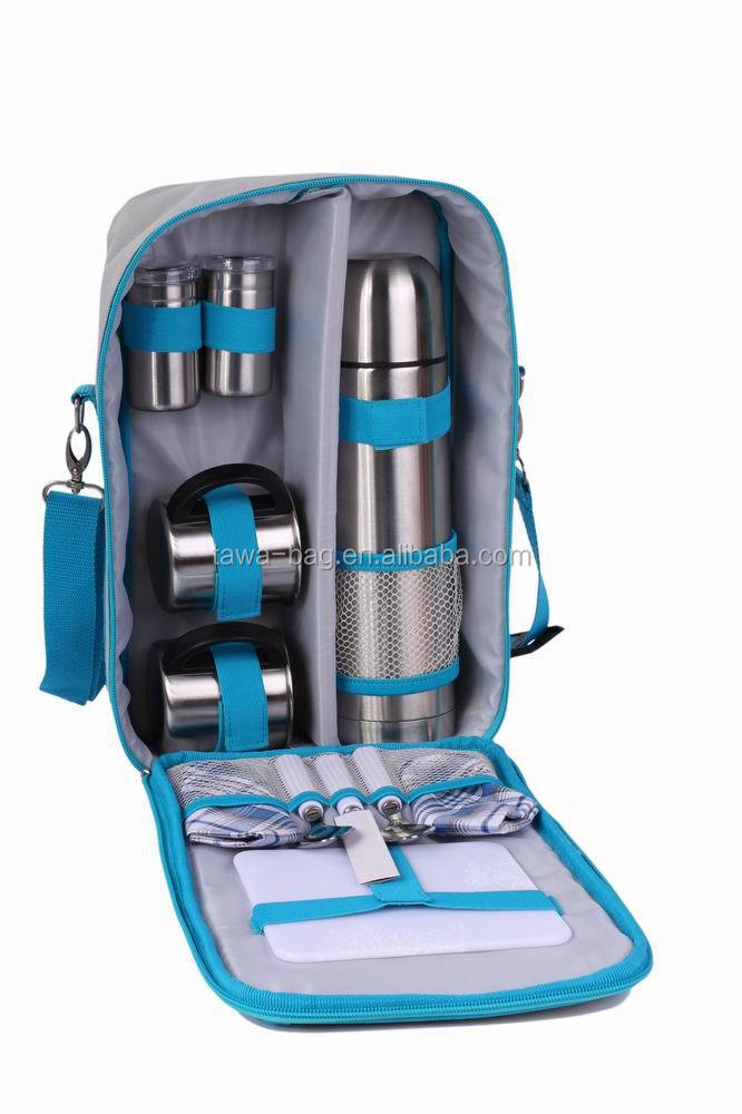 2 person coffee picnic bag set with stainless steel cutlery