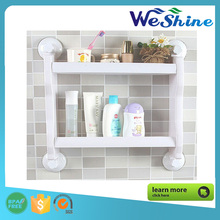 Multi-function Wall Mounted Bathroom/Kitchen Plastic Storage Organizing Shelf Rack/Holder with Four Suction Cup,White