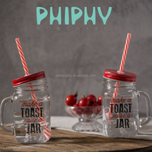 Promotion glass mason jar with handle and straw