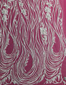 Shiny silver flora application stripe sequin fabric lace