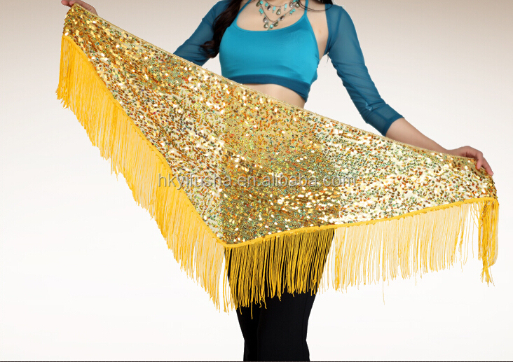 Arabesque sequin embroid hip shawl with fringe
