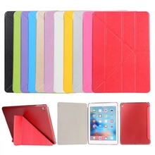For iPad Pro 9.7 inch Transformer Smart Cover Plastic Clear back case Slim Magnetic PU Leather Case for Apple iPad