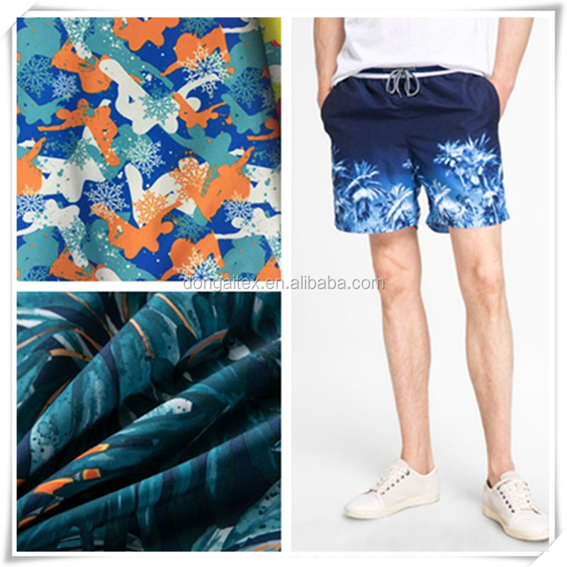 pretty polyester pigment printing fabric for beach pants
