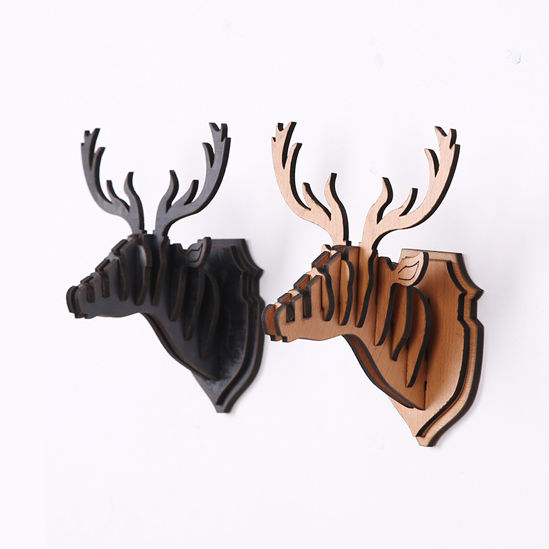 Nordic creative home ornament pine wood Elk head decoration christmas
