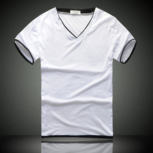 2016 fashion high quality v-neck plain white cotton t shirt
